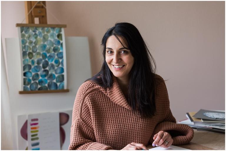 female entrepreneur and designer in her studio in Esher