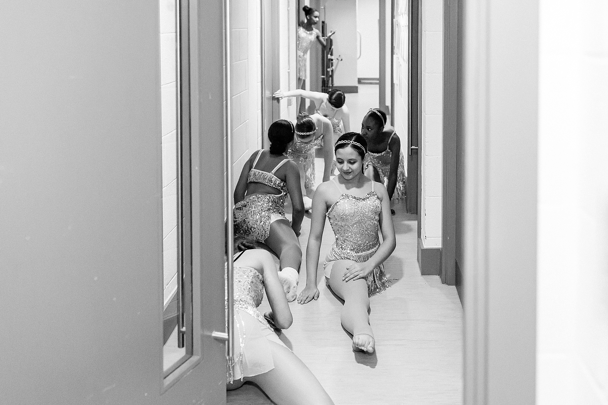 Dancers practising backstage before their performance at The Exchange theatre in Twickenham