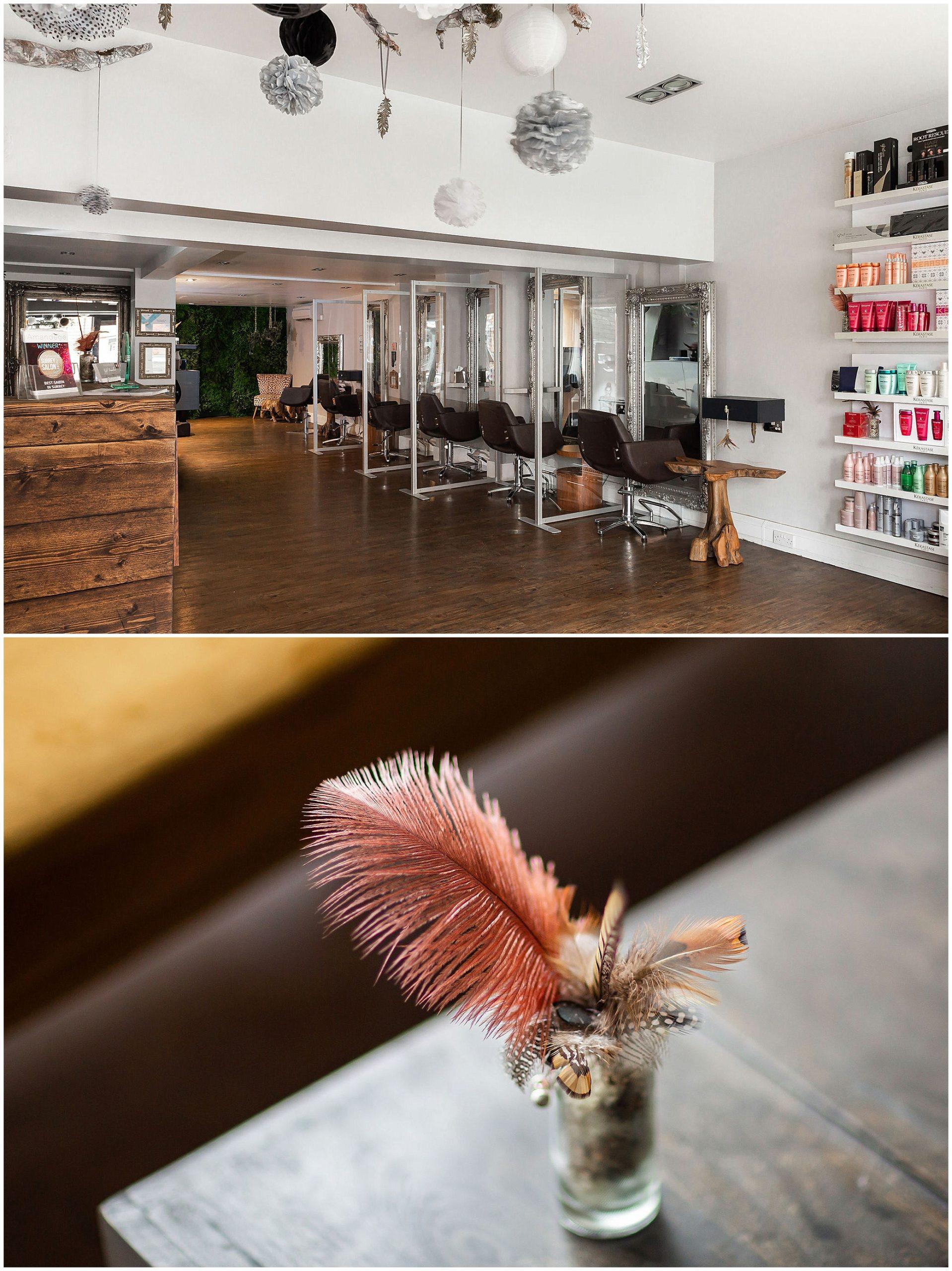 hair salon interior with feather detail Commercial photography Weybridge SurreyWeybridge